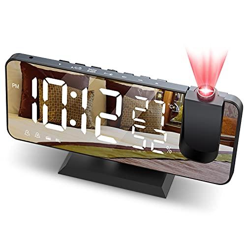 JIGA Reveil Projecteur Plafond Radio FM Reveil Projection 180° Horloge Numérique avec 7' LED Écran Miroir Chargement USB Port Fonction Snooze Double Alarme Horloge Digitale pour Chambre,Cuisine,Bureau