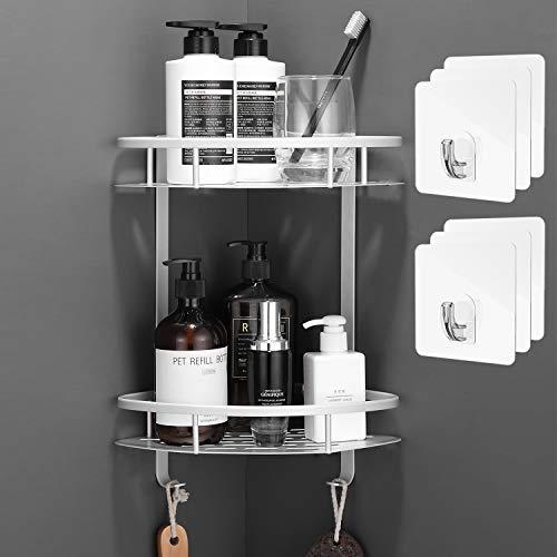 Flowmist 2 Tiers Corner Shower Caddy, Shower Organizer, Wall Mounted Aluminum Shower Shelf with Adhesive(No...