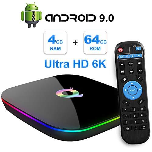 Sidiwen Android 9.0 TV Box Q Plus 4GB RAM 64GB ROM H6 Quad Core 64 Bit CPU WiFi 2.4G Ethernet 100M USB 3.0 Smart Set Top Box Unterstützung 6K Ultra HD H.265 HEVC HDMI 2.0 Internet Media Player