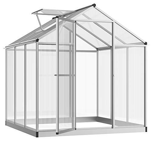 Outsunny Serre de Jardin Aluminium Polycarbonate 4,6 m² dim. 2,42L x 1,9l x 1,95H m Fondation Lucarne Porte loquet
