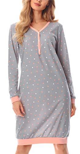 Merry Style Damen Nachthemd MS10-179 (Grau/Punkten, XXL)