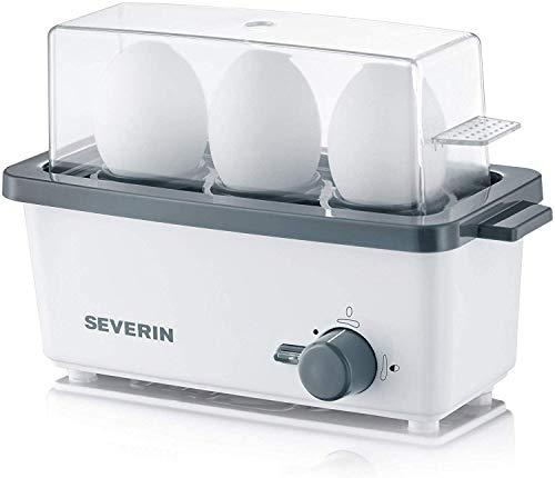 Severin EK 3161 Cuociuova Start, Tre Posti, Controllo Elettronico, Bianco/Grigio