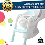 EGREE Potty Training Toilet Chair Seat with Step Ladder for Kids and Toddler Boys Girls - Soft Padded Seat with Foldable Wide Step and Safety Handles - Light Blue and White