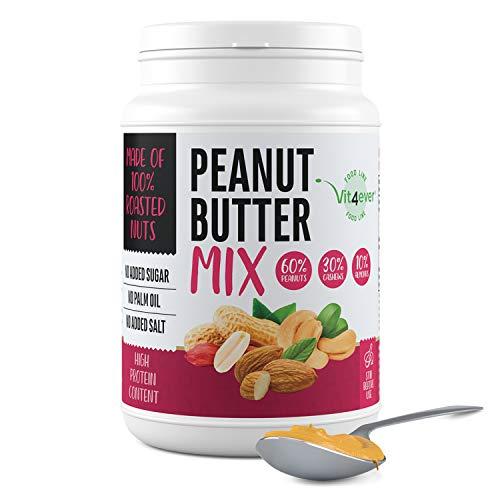 Mezcla de mantequilla de cacahuete con cacahuetes, anacardos y almendras - 1kg de mantequilla de cacahuete natural - Alto contenido en proteínas - Sin sal, aceite ni grasa de palma añadidos