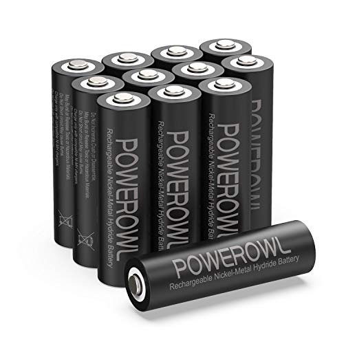 POWEROWL Solar Rechargeable AA Batteries, 2800mAh Double A Batteries (12 Count) High Capacity NI-MH Batteries Pack for Solar Garden Lights, Battery String Lights - Recharge Universal