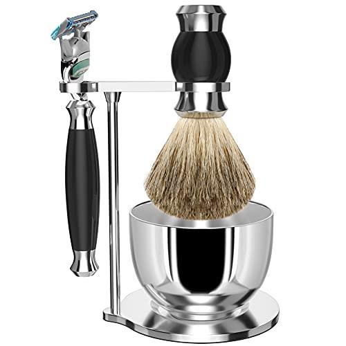 Set da barba GRUTTI, rasoio cromato di lusso e portaspazzolino con portasapone Regali per uomo Pennello da barba in tasso e manico di rasoio compatibili con Fusion 5