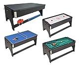 JT2D Table de Jeux 4 en 1 Air Hockey, Ping Pong, Billard et Plateau...