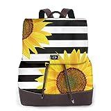 Yuanmeiju Womens Mochila de Cuero Black White Striped Sunflower Shoulder Bookbag Casual Bag Girls