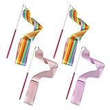 FYSL 4 Pièces 2 Mètres Ruban De Danse Fitness Rubans de Gymnastique...