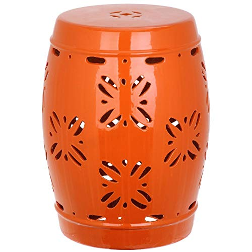 Safavieh Sakura Glazed Ceramic Decorative Garden Stool, Orange