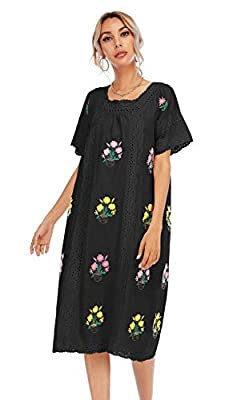 Material: Cotton/Linen/Polyester Square collar, Short Sleeve, Embroidered, Lace Splicing Dress Casual Bohemian dress. Suitable For Casual Daily, Beach, Vacation Wear. Hand Wash Cold Recommended Please Refer to the Product Description for Detailed Siz...