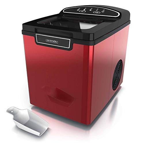 Arendo 722304980722 Macchina per cubetti di Ghiaccio in Acciaio Inox, Inossidabile, Rosso Metallizzato