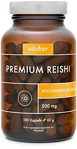 VITAFAIR Reishi Extrakt Kapseln (20:1 Verhältnis mit 500mg), 100 Vegane Kapseln in Braunglas, Ohne Magnesiumstearat, German Quality - Reishi Pilz, Ganoderma Lucidum Extrakt (30% bioaktiven Polysaccharide)