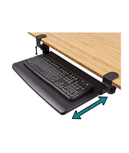 """Stand Up Desk Store Compact Clamp-On Retractable Adjustable Keyboard Tray/Under Desk Keyboard Tray   Increase Comfort and Usable Desk Space   for Desks Up to 1.5' (20"""" x 11.5"""") (Black) (Small)"""