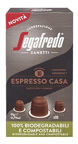 Segafredo Zanetti 80 Capsule Compostabili Compatibili Nespresso, Linea Le Classiche Espresso Casa, Gusto Pieno e Cremoso - 8 Astucci da 10 Capsule