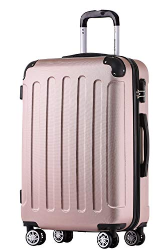 BEIBYE Hartschalen-Koffer Trolley Rollkoffer Reisekoffer Handgepäck 4 Rollen (M-L-XL-Set) (Rosa Gold, L)