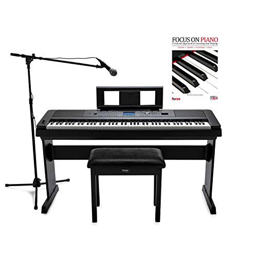 Yamaha DGX-660 - Piano digital de 88 teclas con micrófono ATR1200, soporte para micrófono, banco Knox Flip parte superior y juego de piano Focus