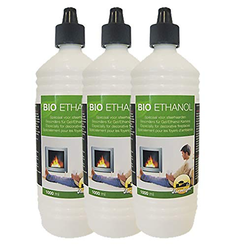 Farmlight 3 Litre Organic Ethanol > 95% - 96.6% Premium for Ethanol Fireplaces Gel Fireplaces Bamboo Torches Residues Loose Combustion from Renewable Resources