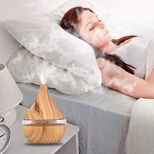 Luftbefeuchter Aroma Diffuser Düfte Humidifier Holz Aromatherapie Ätherische Öle Ultraschall Vernebler Raumbefeuchter Duftlampe Öle Diffusor Holzmaserung Duftöldiffusoren Luft LED