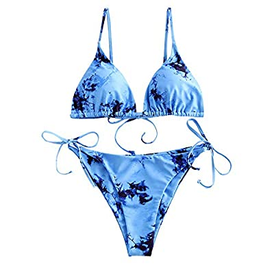 Material: Polyester,Spandex,Elastic fabric Padded cups,adjustable spaghetti straps,wire free,triangle style,string tie bottoms women sexy bikinis This string bikini top is easily recognizable by the unique tie-dye, sprinkled all over its triangle si...