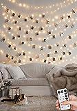 Batería de cadena de luz LED de 10 m para fotos con control remoto, cadena de luz regulable y función de temporizador, clips de fotos, cadena de luz con 50 clips para decoración de habitaciones
