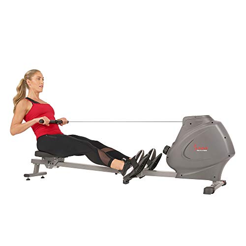 Sunny Health & Fitness Compact Folding Magnetic Rowing Machine with LCD Monitor, Bottle Holder, 43 Inch Slide Rail, 250 LB Max Weight - Synergy Power Motion - SF-RW5801, Silver