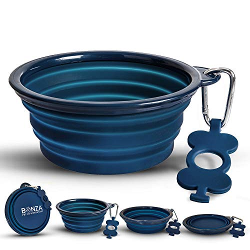 Bonza Large Collapsible Dog Bowl, 40 Ounce Hiking...