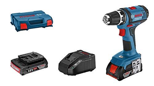 Bosch Professional 06019B7305 18V System perceuse-visseuse sans-Fil GSR 18-2-LI (Couple Maxi (Dur/Tendre) : 63/24 Nm, avec 2 Batteries de 2,0 Ah, Chargeur Gal 18 V-20, L-Case), Couleur, Size