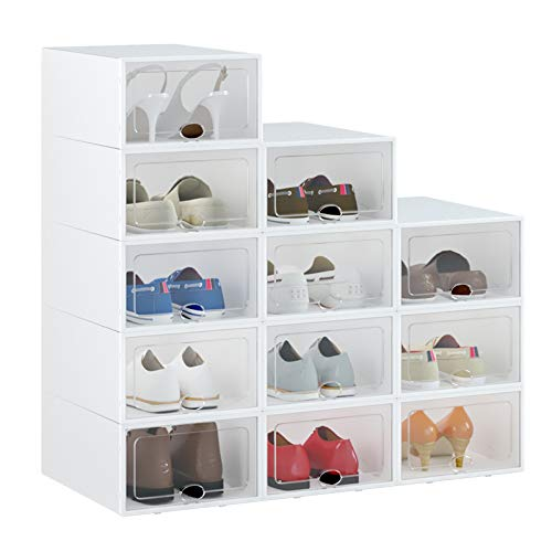 Shoe Box, 12 Pack Shoe Storage Boxes Clear Plastic Stackable,...