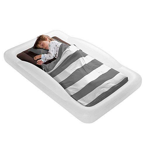 The Shrunks Toddler Travel Bed Portable Inflatable Air Mattress Blow Up Bed for Indoor/Outdoor Camping, Backyard, Hotel, or Home Use Kids Floor Bed with Security Bed Rails and Electric Pump