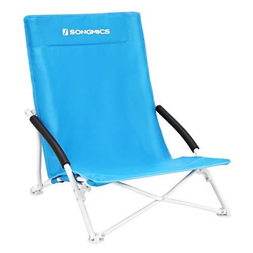 SONGMICS Strandstuhl, klappbarer Campingstuhl, Klappstuhl mit Tragetasche, bis 150 kg belastbar, aus robustem Oxford-Gewebe, blau