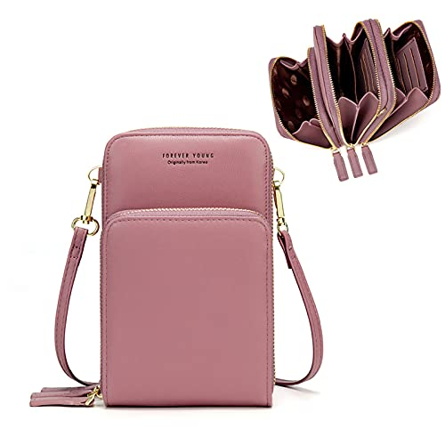 Small Crossbody Cell Phone Purse for Women, Mini Messenger Shoulder Handbag Wallet with Credit Card Slots