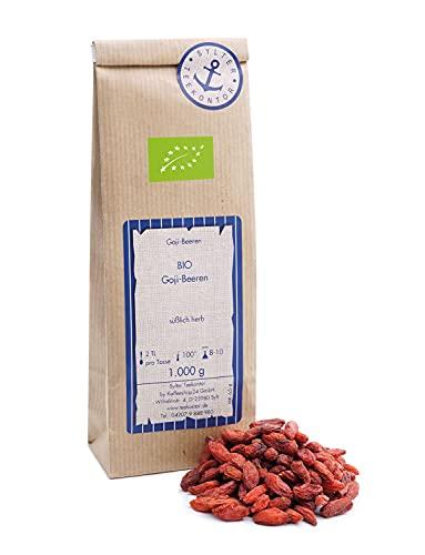 Goji Beeren Bio 1 kg getrocknet, süßlich herber Geschmack, ungeschwefelte und ungezuckerte Wolfsbeeren Bocksdornfrucht Glücksbeere ohne Farbstoffe