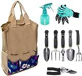 CALIFORNIA PICNIC Garden Tool Set | Garden Tools Organizer Tote | Gardening Gloves Included Great Garden Tools for Woman and Men | 9 Piece Garden Accessories Tool Organizer Kit | Gardening Gifts