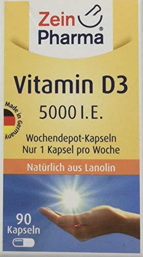 ZeinPharma Vitamin D3 5000 I.E. 90 Kapseln (2-Jahresvorrat) Wochendepot - nur eine Kapsel pro Woche Hergestellt in Deutschland, 16 g
