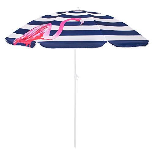 SPRINGOSⓇ Sonnenschirm|Strandschirm|Kippfunktion|Flamingos|Weiß/Dunkelblau|max. Höhe 175 cm|Ø 160 cm|Gartenschirm (Weiß/Marineblau/Gestreift mit Flamingos)