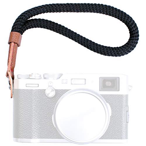 VKO カメラのリストストラップ for FUJIFILM 富士フイルム X100F X100S X100T X-T20 X-T10 X-T2 X70 X-Pro2 X-E2S X-E3 X-E2 X-E1 X-T1 X-Pro1 X30 XQ2 XQ1 X100 ハンドストラップ黒色