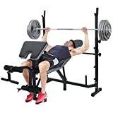 【US in stock】Standard Olympic Weight Bench, Workout Station Adjustable Dumbbell Bench Weightlifting Bed with Preacher Curl Leg Developer and Crunch Handle