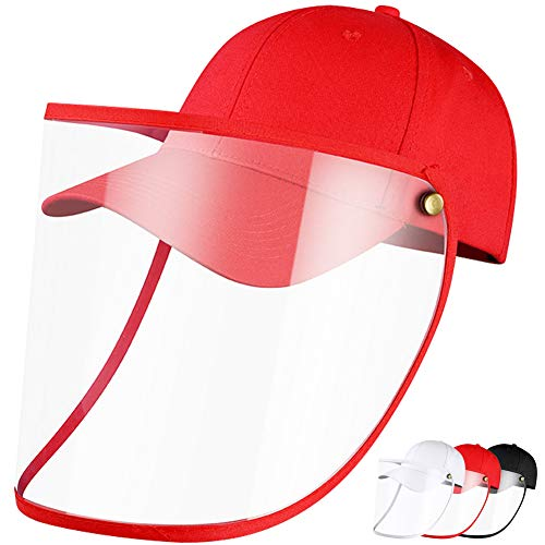 Anti Spitting Protective Hat Protective Facial Mask Safety Face Shield Particulate Respirator Anti Spitting Splash Hat Removable Isolation Anti Pollution Hat Anti Drool Saliva Isolation cap(Red)