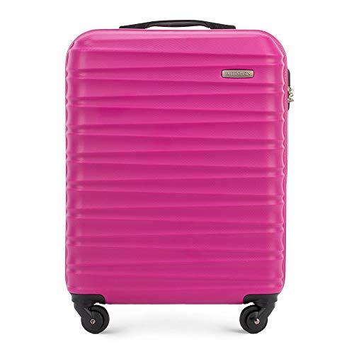 Stabiler Handgepäck Trolley Koffer Reisekoffer von Wittchen Rosa ABS Hartschalen Trolley 4 rollen Kombinationsschloss