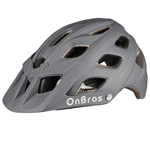 OnBros Mountain Bike Helmet for Adults, MTB Bicycle Helmets with Sun Visor, Lightweight Cycling Helmets for Women and Men, CPSC Certified (Gray)