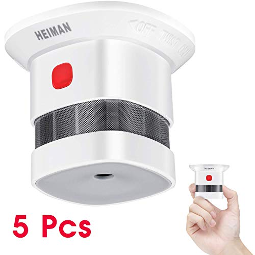 HEIMAN rookmelder | Mini-brandalarm met 10 jaar batterijlevensduur | TÜV- en EN14604-gecertificeerde rookmelder met brandalarm en foto-elektrische sensor | Set van 5
