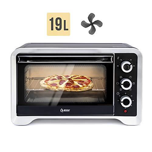Beleaf Minibackofen 19 L, 1380 Watt mit Timerfunktion, Umluft und Innenbeleuchtung, Drehspieß für 1 Hühnchen, Doppelverglasung, elektrischer Grillofen, Pizza Ofen
