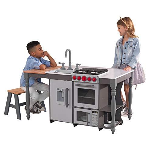 Kidkraft 53420 ChefS Cook N Create Island - Cucina Giocattolo in Legno, con Luci e Suoni, Dotata di Macchina del Ghiaccio, per Bambini, con Sistema di Montaggio EZ Kraft Assembly