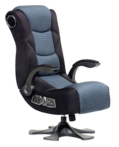 X Rocker, 5129501, Deluxe Mesh 2.1 Pedestal Gaming Chair with Breathable Microfiber Mesh, Black/Gray
