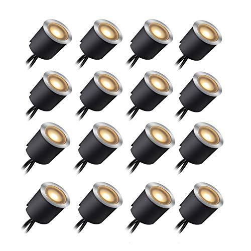 Kit Luci Da Incasso a LED Con Guscio di Protezione 30mm/24mm, Luci LED IP67 impermeabili Per Terrazze Per Illuminare Il Paesaggio, 16pz Bianco Caldo Per Giardino, Scale, Gradini, Patio