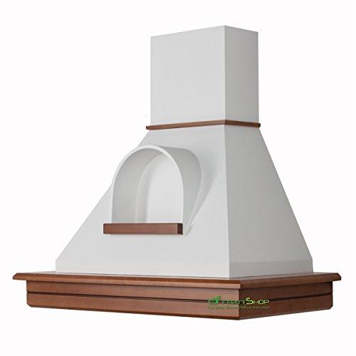 Cappa cucina rustica legno mod.Stock 90 parete -noce biondo cono bianco con nicchia
