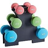 Albott Set haltère, 3 Paires, 2 x 1 kg, 2 x 2 kg, 2 x 3 kg, Support de Rangement, Salle de Sport, Musculation, revêtement en néoprène antiglisse