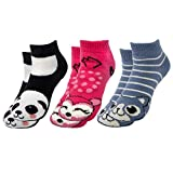 Polar Extreme (3 Pairs) Thermal No Show Animal Slipper Socks With Grippers For Women Nonslip Socks Kids, Multi, Women's sock size 9-11 Shoe size 7.5-11