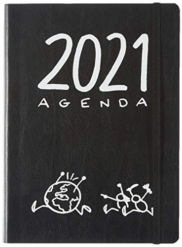 Miquel Rius - Agenda Anual 2021 T-Diary - Español, Día página, Tamaño 155 x 213 mm (~A5) Papel 90g, Cubierta Flexible en Cuero Regenerado, Color Negro, Comerse el mundo